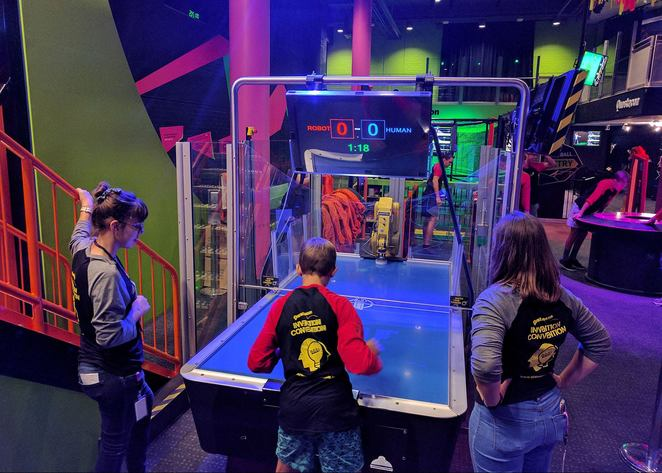 questacon, school holidays, kids, science museum, canberra, teenagers, science, interactive, robo q, air hockey with robot,