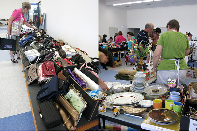 Scroungers Autumn Garage Sale 2018, bags and crockery.