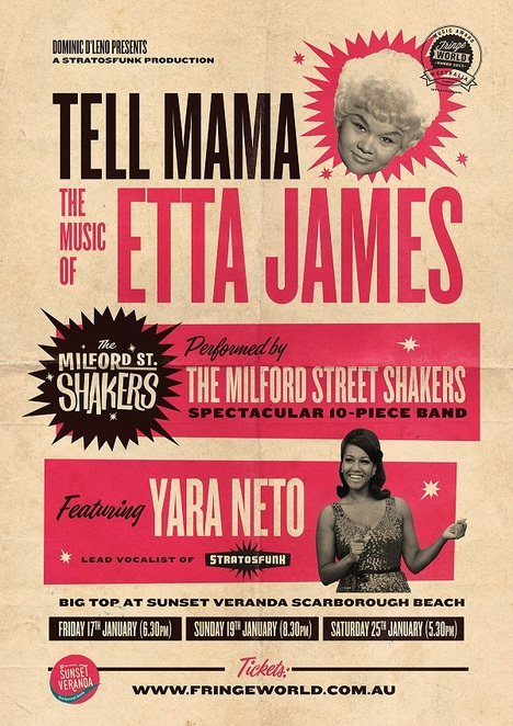 Tell Mama: The Music of Etta James!, Fringe World, Milford Street Shakers, Yara Neto, Sunset Veranda, rock 'n' roll, soul, R&B, gospel music, jazz., Scarborough Beach