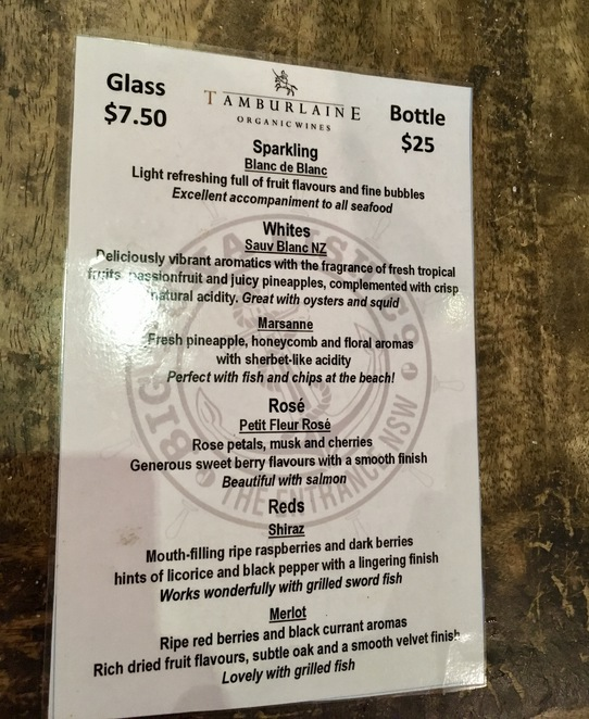 Wine menu, Big Tuna Fish Co, The Entrance, Central Coast, Fresh seafood, licensed seafood restaurant