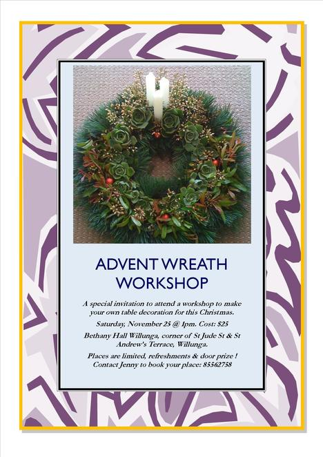 Christmas Workshop on November 25th, 1pm to 4pm