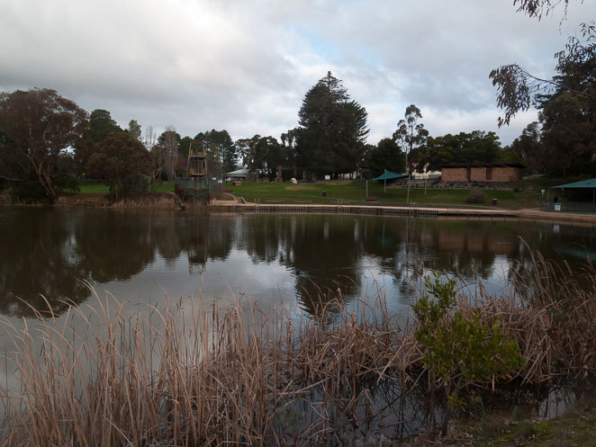 Looking out over the lake at the diving platform and some picnic tables at Calembeen Park