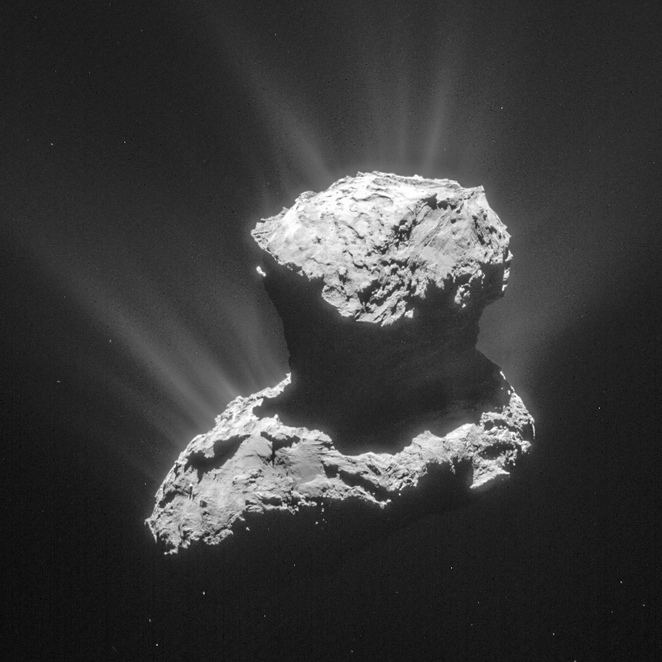 Up close and personal photograph of a real comet thanks to the European Space Agency