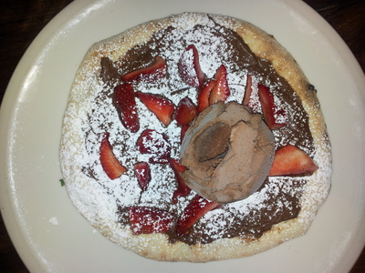 Dessert pizza - nutella, strawberries and ice cream