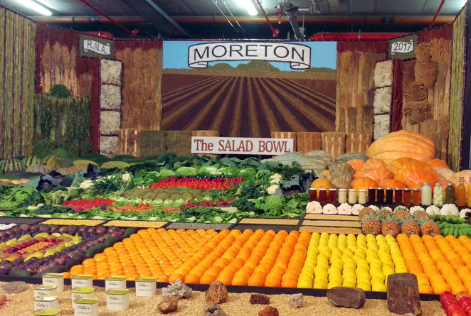 A high school display about their home town and local produce