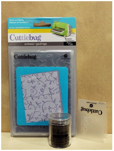 Embossing template, cuttlebug, embossing powder