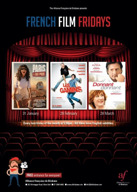 french film fridays, free movies brisbane, french movies brisbane, alliance francaise