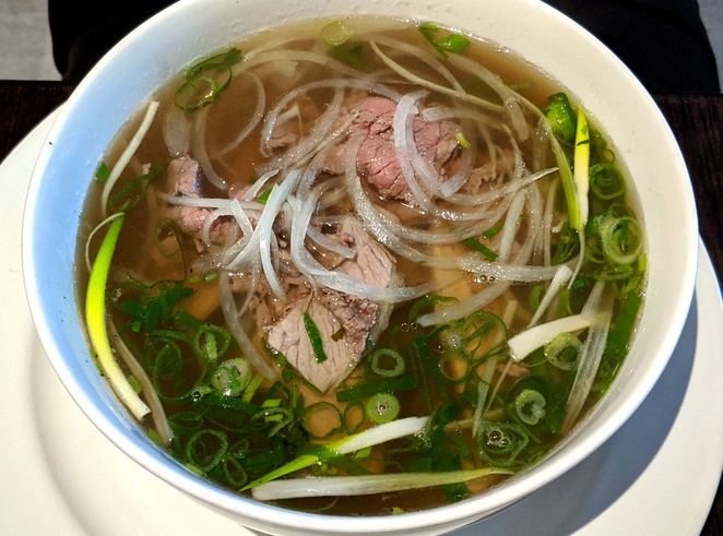Classic Vietnamese beef noodle soup, also known as Pho
