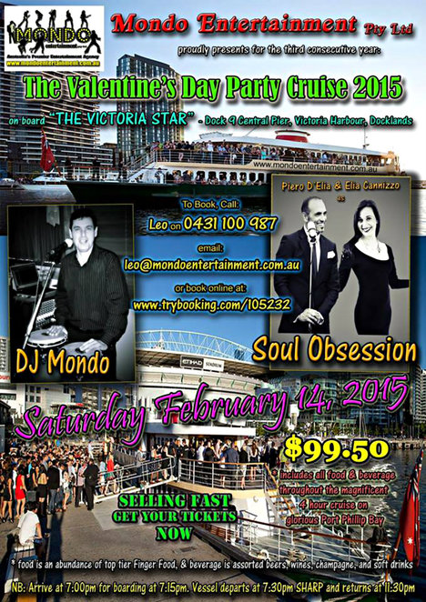 mondo entertainment, valentines day, the valentine's day party cruise, party cruise, d j mondo, soul obsession, the victoria star, docklands