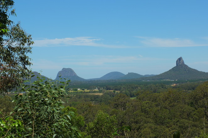 Peachester, Sunshine Coast hinterland, views of Glass House Mountains, general store, heritage-listed public dip, school, Uniting Church