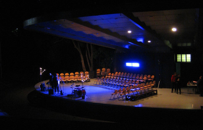 The roma street parklands amphitheatre setup for a performance with