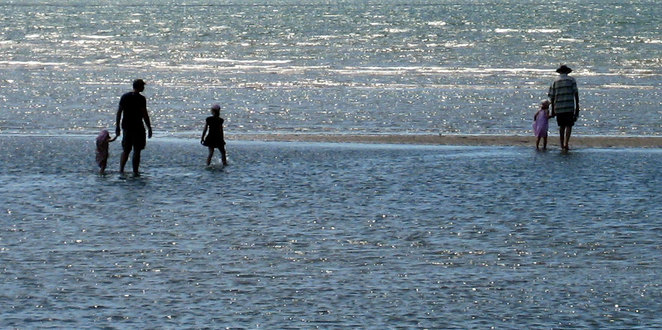 Walking out on the sandbars at Sandgate