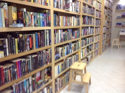 shelving set up at Brown and Bunting Booksellers