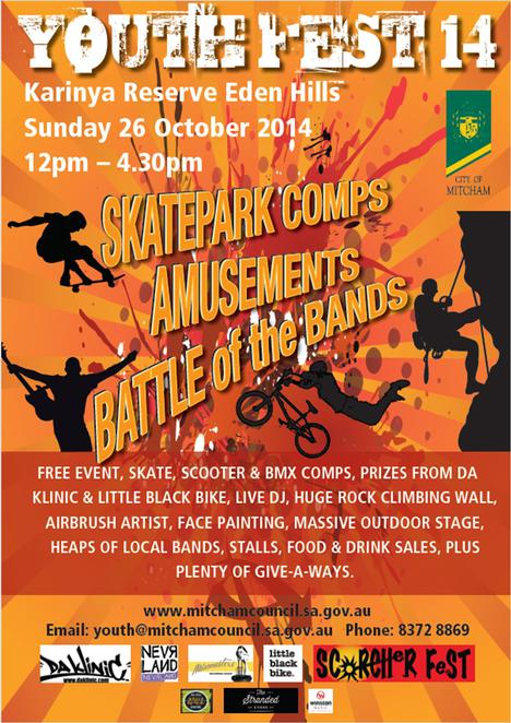 skate parks, karinya reserve, skate parks around adelaide, south of adelaide, in adelaide, mitcham council, youth fest 14, live entertainment, fun things to do