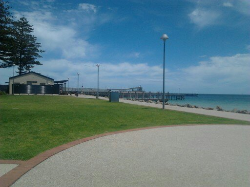 Wallaroo, Office Beach foreshore, view to Cafe Mia and Jetty