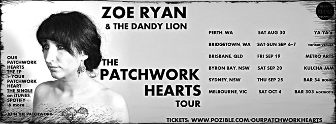 zoe ryan, Zoë Ryan & the Dandy Lion, band, indie, folk, pop, muso, musician, vocalist, singer, guitarist, our patchwork hearts, paint the whole world bright, your ghost, the reasons you needed, running circles, ready when you are