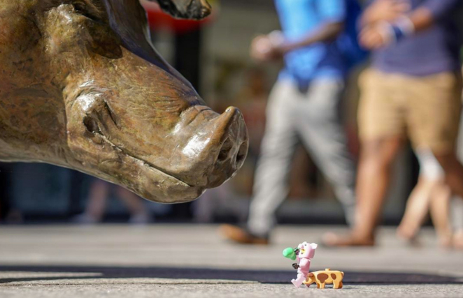 An iconic Adelaide pig faces off with its Lego nemesis