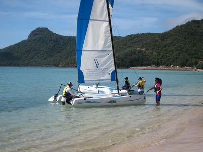 Catamaran on Catseye Beach, Hamilton Island, The Whitsundays