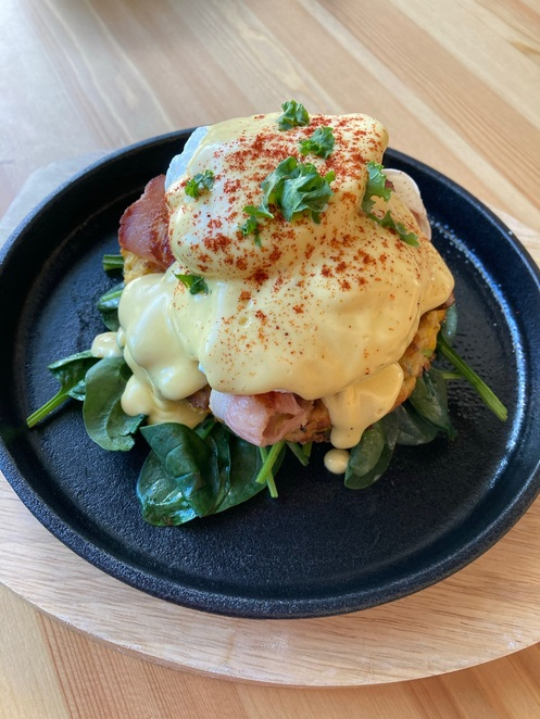 Corn Fritter poached eggs