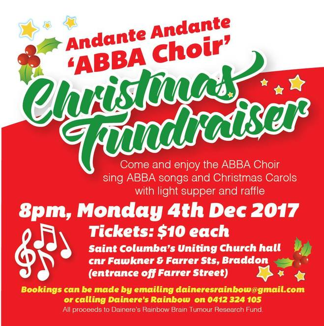 Dainere's Rainbow Brain Tumour Research Fund, canberra, christmas carols, events, carols, 2017, ACT, canberra, charity,