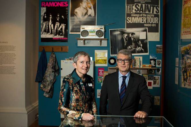 Exhibition curator Clare Williamson and special advisor Tony Moore inside Bohemian Melbourne