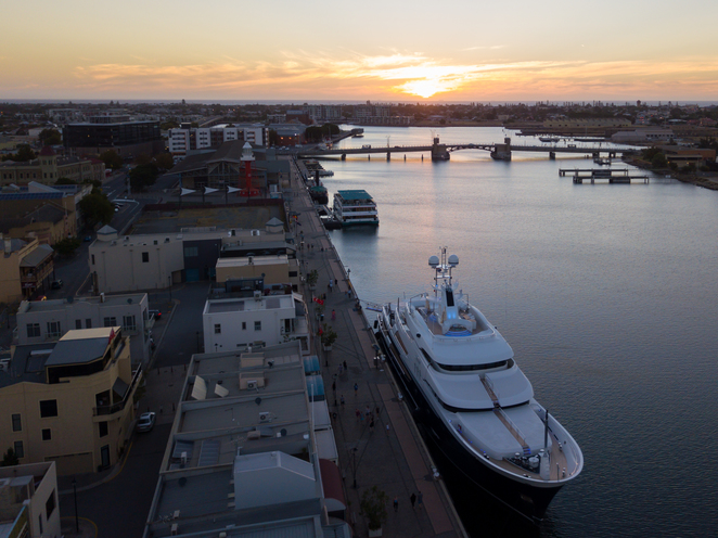Felix Super Yacht, Port Adelaide, Sunset