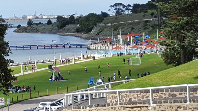 Playing at Eastern Beach, Geelong
