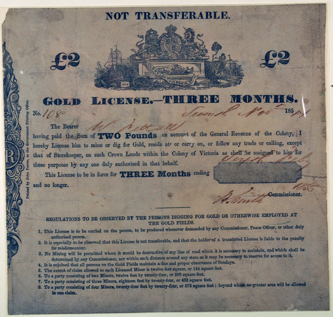 Miner's Licence at the Gold Museum Ballarat