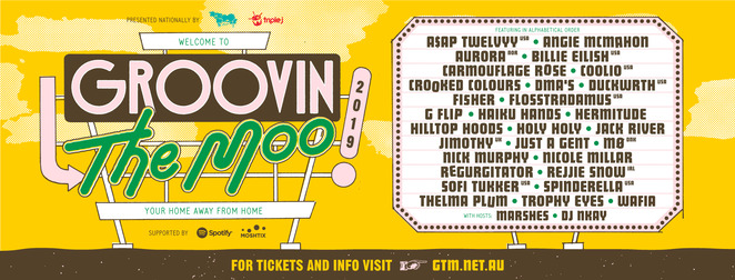 groovin the moo, music festival, community event, fun things to do, adelaide showground, maitland showgroun, exhibition park in canberra, prince of wales showgrounds, murray sports complex, hay park, live performances, wayville, date night, night life, a$ap twelvyy, angie mcmahon, aurora, billie eilish, carmouflage rose, coolio, crooked colours, dma', duckwrth, fisher, flosstradamus, g flip, haiku hands, hermitude, hilltop hoods, holy holy, jack river, just a gent, mo dnk, nick murphy, nicole millar, regurgitator, rejjie snow, sofi tukker, spinderella, thelma plum, tokimonsta, trophy eyes, musicians, muso