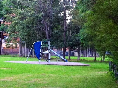The play equipment in the middle of the park