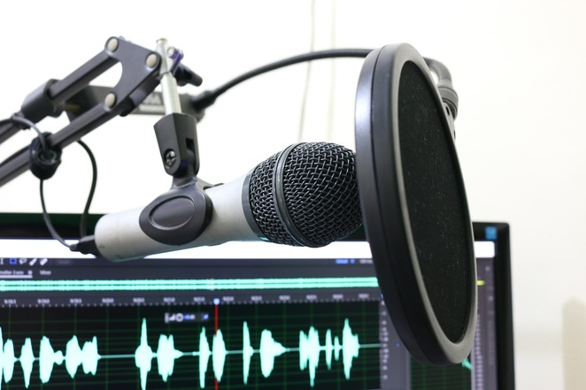 microphone, computer, podcast