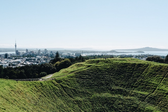 Mt Eden park, sky tower, rangitoto, playground, waitemata harbour, Auckland, volcano