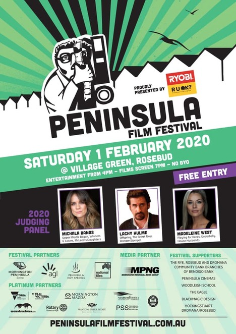 peninsula film festival 2020, ryobi, ruok, victoria's largest film festival, community event, fun things to do, date night, entertainment, night out, led screen, food trucks, music, entertainment, short films, shorts, picnic blanket, free film event, vip tix, mcdaids irish pub, after party, rosebud, performing arts, actors, actresses, movies, movie buff, cinema