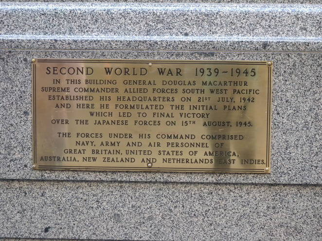 Plaque on the wall outside the MacArthur Museum, 201 Edward Street, Brisbane