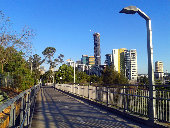 The view of Brisbane from Roma Street Parklands
