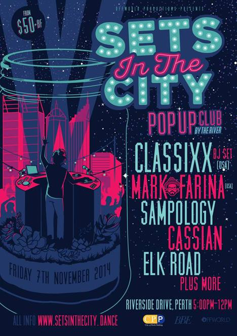 sets in the city, sets on the beach, riverside drive, DJs, sets perth, perth sets, sets in the city perth, sampology, classixx, elk road