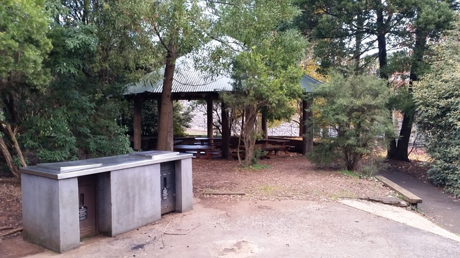 Sheltered barbeque and picnic facilities at Silvan Reservoir.