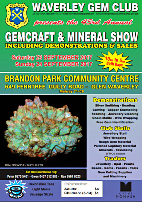 waverley gem club exhibition, brandon park community centre, annual gem exhibition, gemstone jewellery, gemstones, crystals, rocks, mingeral and fossil sales, gemstone identification, silversmith demonstrations, devonshire tea, food canteen, fun things to do, community event