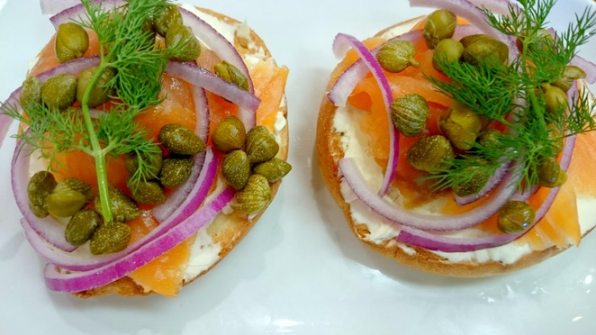 bagel, smoked, salmon, lox, cream, cheese, dill, capers, breakfast, brunch, blend, cafe
