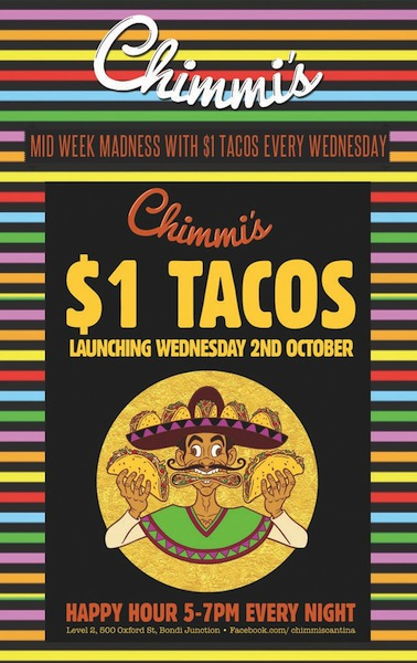 Chimmis bondi junction, chimmis $1 tacos, cheap tacos Sydney, cheap Mexican food Sydney, chimmis south American bar, south American bars Sydney, cheap south American bars Sydney, chimmis tacos, chimmis happy hour, Mexican food sydney