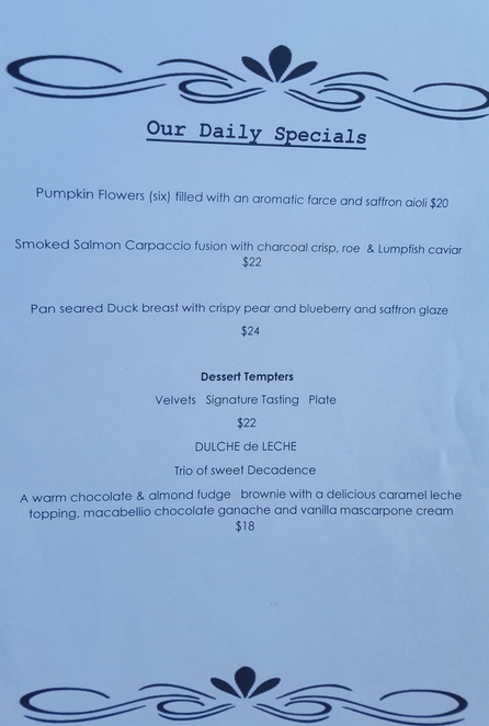 Daily specials, lunch, tapas, winery
