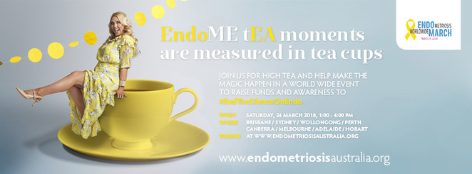 endometriosis, awareness, funds, Brisbane, Adelaide, Sydney, Melbourne, perth, Wollongong, Canberra, Hobart, high tea
