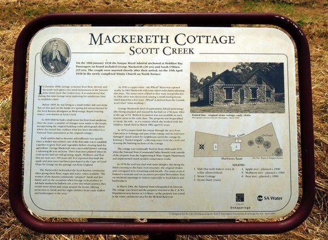 mackereth cottage, scott creek, scott creek conservation park, south australia, george mackereth, in adelaide, almanda silver mine, interpretive signage