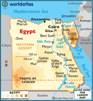 Map showing Egypt and Israel - worldatlas.com