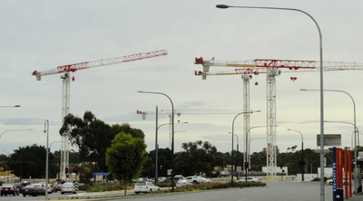 Hindley st NRAH cranes North and West terrace Adelaide