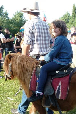 Riding ponies at the Medieval Fayre, Blacktown