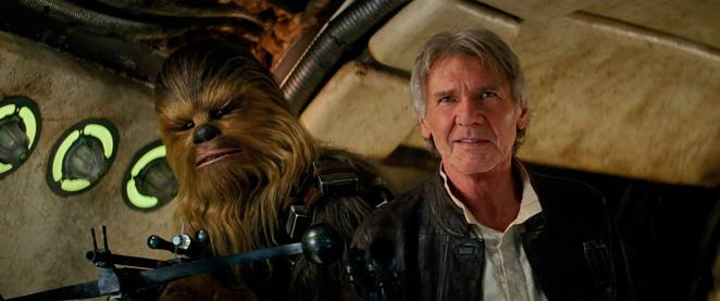 Star Wars The Force Awakens - Han Solo played be Harrison Ford and Chewbacca played by Peter Mayhew