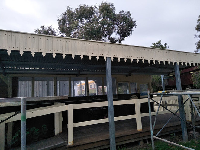 The Fixit Fellas Super Shed Sale. The verandah of the Picnic Van on the SWRHC site was constructed by the Men's Shed. The decorative edging reflects the verandahs that were often a part of the railway stations of the past. at the South West Rail and Heritage Centre.