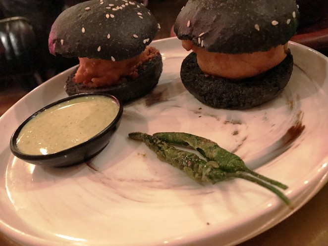 Vada pav extraordinaire with Charcoal buns at Masala Theory