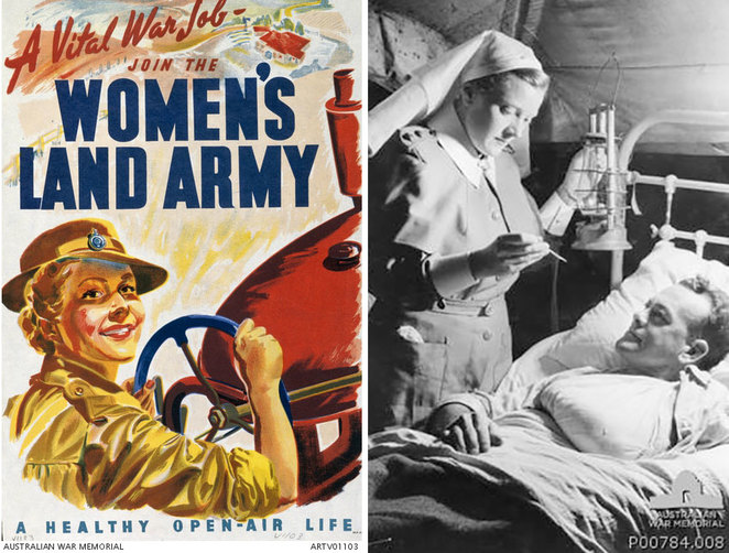 ANZAC Cottage Open Day Celebrates Women at War. Above left: Women's Land Army recruiting poster (Australian War Memorial ARTV01103) Above right: Nurses in Queensland, 1944. Nurse tending a wounded soldier (Australian War Memorial P00784.008).